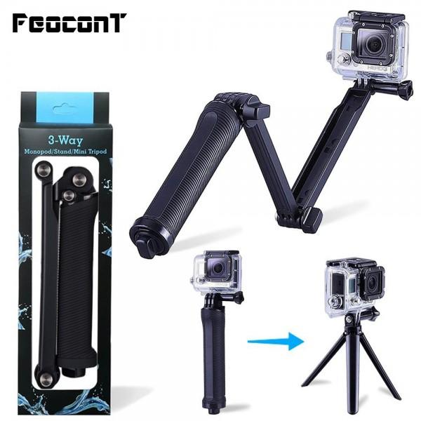 Deyatech 3-Way Kavrama Kol Tripod El Sabitleyici Ayarlanabilir Monopod, GoPro Hero Kameralar için genişletilebilir Katlanır