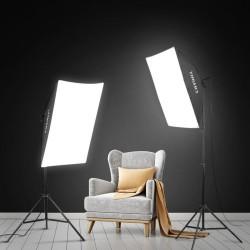 Deyatech Fotoğraf Stüdyosu Backdrop Sürekli Aydınlatma Led Kiti 50x70cm Softbox Blogger Kit
