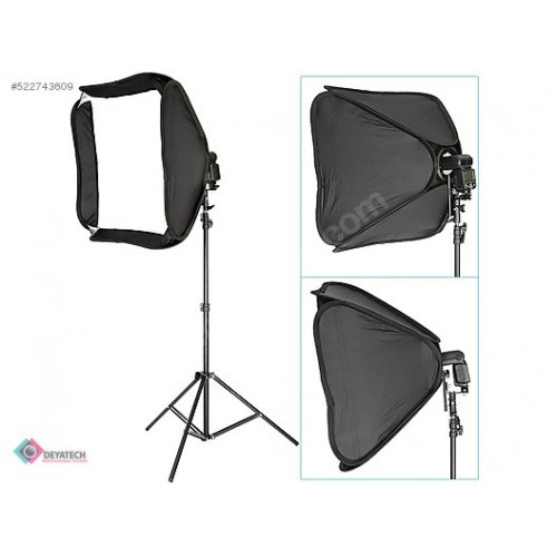 DEYATECH Easy-Folder Softbox Kit 60x60cm Katlanabilir Tepe Flaş İçin Softbox TRİPOD