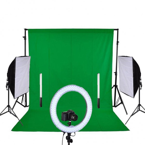 Youtuber Stüdyo Kit Ring Light Led + 50X70 Softbox Sürekli Video Işık Set