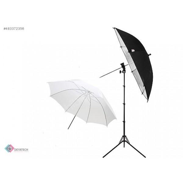 Umberlla Flaş Kit 3lü Strobist Set. Işık Ayağı,Şemsiye,Flaş ve Şemsiye Adaptörü Gümüş