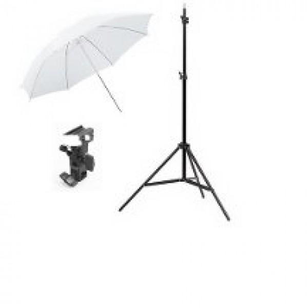Umberlla Flaş Kit 3lü Strobist Set. Işık Ayağı,Şemsiye,Flaş ve Şemsiye Adaptörü Soft