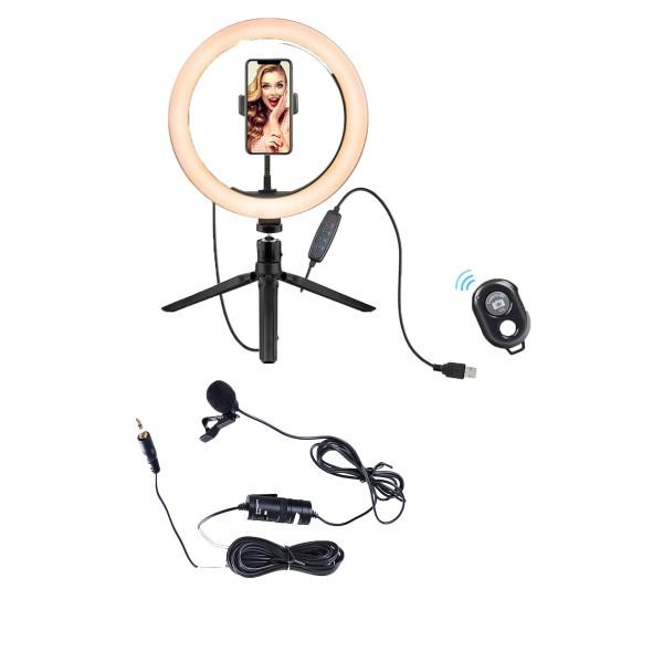 Deyatech  YouTube Ve Vlogger Kit Video Fotoğraf  Kit Ring Ligt Led Yaka Mikrofon Ve Bluetooth Set
