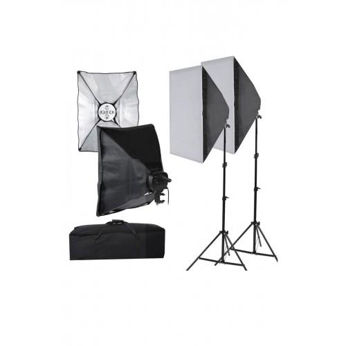 SoftBox 5 Duyulu 2. Ayak Fotoğraf Stüdyosu sürekli Aydınlatma Video Işığı E27 50 * 70 cm Kit