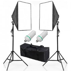 Deyatech SoftBox Tek  Duyulu 2m Ayak Fotoğraf Stüdyosu sürekli Aydınlatma Video Işığı E27 50 * 70 cm İkili Kit (Lambalı)