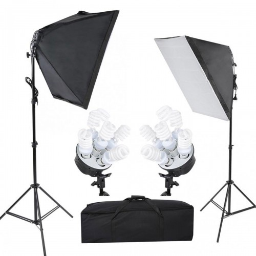Deyatech YouTuber Softbox 50x70 cm 5 Duylu Softbox Sürekli Işık İkili Set 2m Işık Ayak Stand